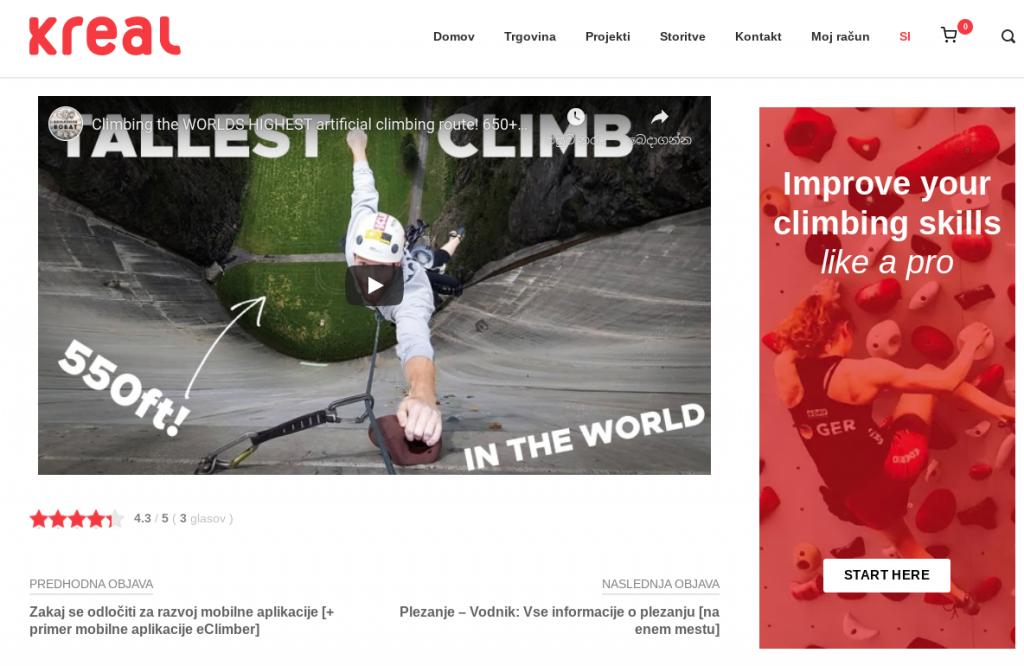 predstavitev podjetja plezalne stene Kreal